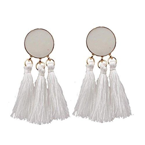 - Swyss Bohemian Long Tassel Earrings for Women Dangle Chic Charm Jewelry Accessories Fashion Trend (White)