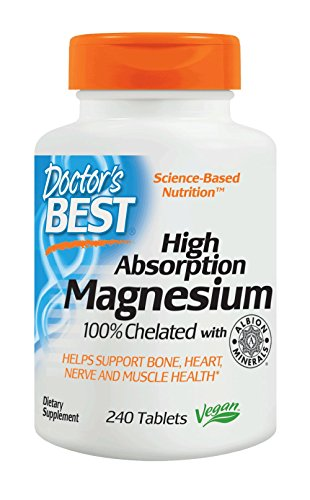 Gluten Free Soy Free (Doctor's Best High Absorption Magnesium Glycinate Lysinate, 100% Chelated, Non-GMO, Vegan, Gluten Free, Soy Free,  200 mg, 240 Tablets)