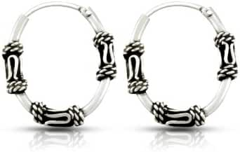WithLoveSilver 925 Sterling Silver 1.5x17x20 mm Round Tube Oval Shape Bali Hoop Earrings