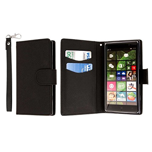0 Wallet Case, [Flex Flip] Cover with Card Slots and Wrist Strap (Black) ()