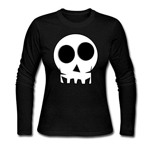RUIZITS Women's Round-Neck Normal Fit Skull Long Sleeve Tshirts Soft