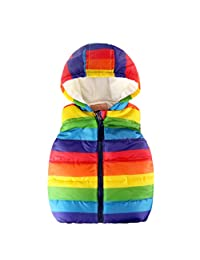 zhxinashu Coat Waistcoat Children Sleeveless Vest Outerwear Rainbow Striped Jacket