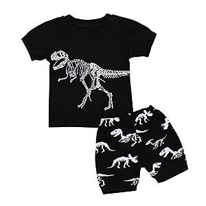 Hot Sale! Toddler Kids Baby Boys Dinosaur Pajamas Cartoon Print T Shirt Tops Shorts Outfits Set