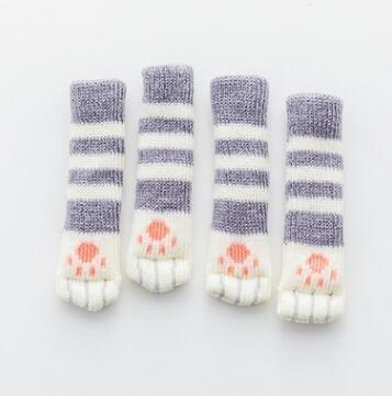 Knitting Cat Style Chair Leg Socks | Floor Protectors for Furniture | Legs Non-Slip Table Legs Prevent | Pet Dog Cat Scratching (4pcs)