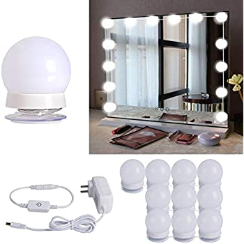 Hollywood Style Led Vanity Mirror Lights Kit With 10 Dimmable Light Bulbs For Makeup Dressing Table And Power Supply Plug In Lighting Fixture Strip