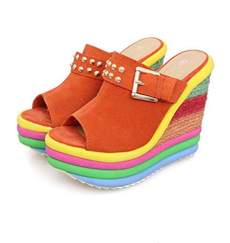 Zapatillas de Cuña con Tacón Alto para Mujer Zapatillas de Remache Azul/Naranja Talla 34-40 Naranja