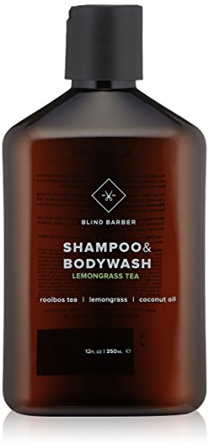 Blind Barber Lemongrass Tea Shampoo & Bodywash - Sulfate & Paraben Free 2-in-1 for Men with Coconut Oil, All Hair Types (12 Ounces, 350 Milliliters)
