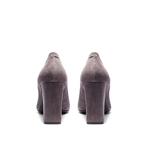 Negro Medio Zapatos formales Alto Bloquear Grueso Gamuza Oficina Gianni Tacon Shoes Mujer Gris Cuero Cuadrado Cerrada Tacon Darco Punta SqWYp8