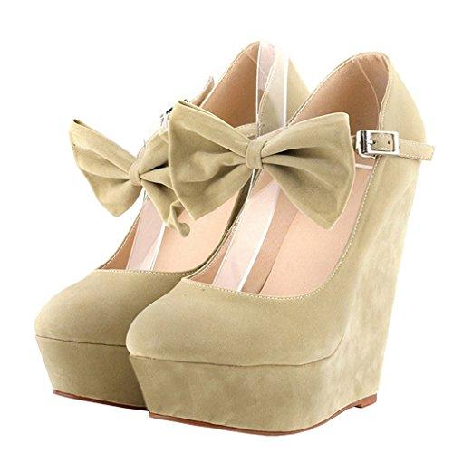 MERUMOTE - Zapatos de vestir de ante para mujer albaricoque