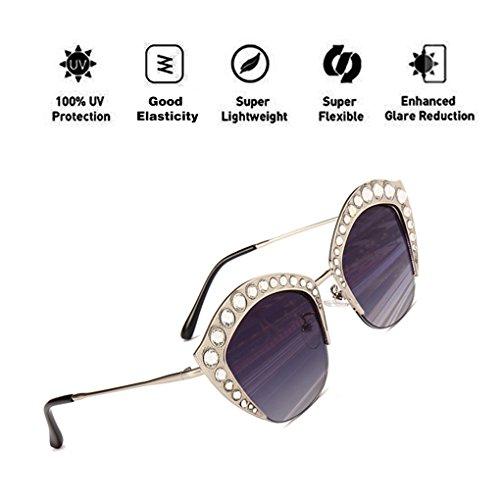 Gris PC ATNKE UV400 de Gafas HD de Shape para armadura gran protección sol de hombres tamaño Lente Lip Decoration reflectante Moda de Mujeres la con Diamond Gafas FFwB7rq