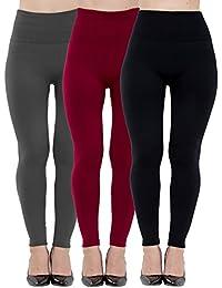 Womens Leggings Fleece Lined-High Waist 3 Pack (Black,...