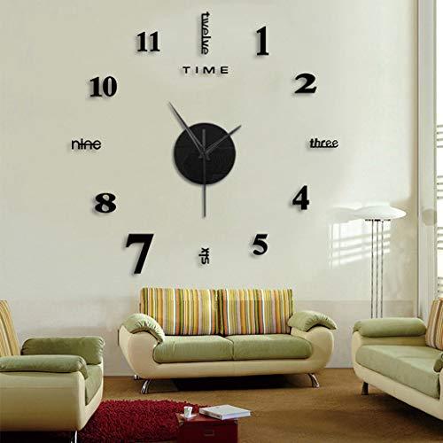 Reloj Silencioso de Pared DIY Sin Marco Etiqueta de Superficie De Espejo 3D Decoración de Oficina En Casa (Negro)