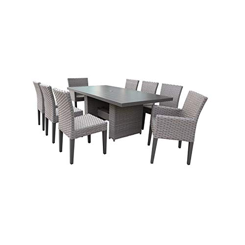 TK Classics Florence Rectangular Outdoor Patio Dining Table 6 Armless Chairs -