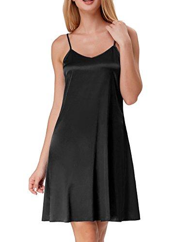 Women Sleep Dress Satin Nightgown Knee Length V-Neck Pajamas Black Size L ZE38-1 -