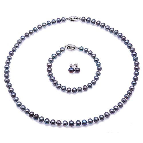 JYX Pearl Necklace Set 7-8mm Round Blue Freshwater Pearl Necklace Bracelet and Earrings Set