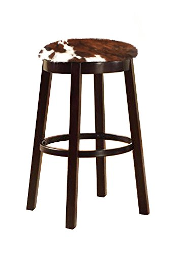 The Furniture Cove Western Style 28 Tall Espresso Wood and Metal Bar Game Room Kitchen Swivel Bar Stool with Your Choice of an Authentic Cowhide Covered Seat Cushion Dark Brown Dapple