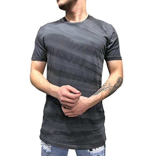 (URIBAKE ⭐️ Men's Summer Short Sleeve T-Shirts Color Block Print Fitness Vest for Leisure Workout Dark Gray)