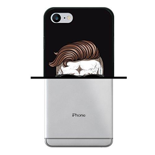 iPhone 8 Hülle, WoowCase Handyhülle Silikon für [ iPhone 8 ] Schädel und Schnurrbart Handytasche Handy Cover Case Schutzhülle Flexible TPU - Schwarz
