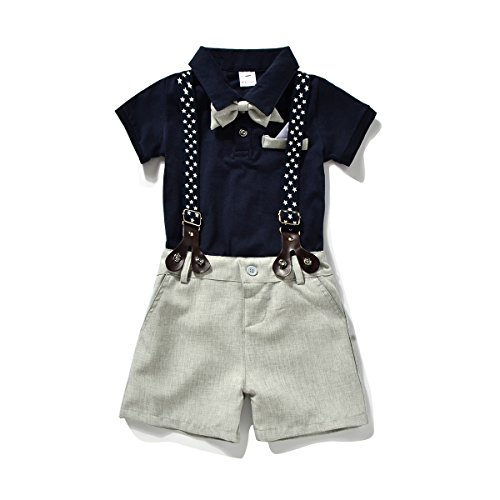 Miniowl ® Toddler Boys 2 PCS Set Gentleman Bowtie Polo T-shirt Bid Shorts Overalls (3t, Black) ()
