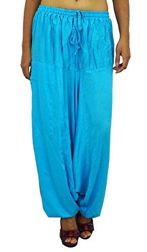 Casual Hippie gitano Harem Harem Aladdin Las mujeres usan pantalones indias Bleu