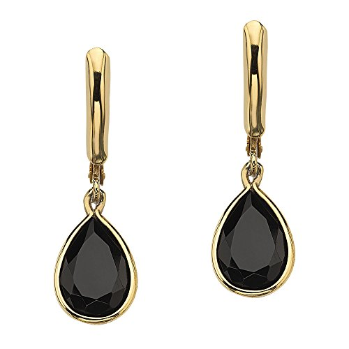 Onyx Earrings Drop 14k (Pear-Shaped Genuine Black Onyx 14k Yellow Gold-Plated Drop Earrings)