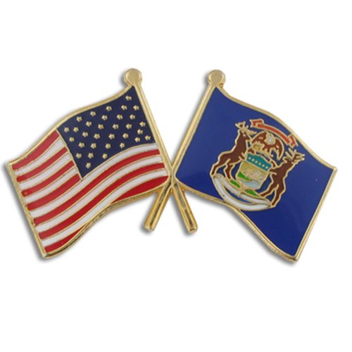 PinMart Michigan and USA Crossed Friendship Flag Enamel Lapel - Michigan Enamel