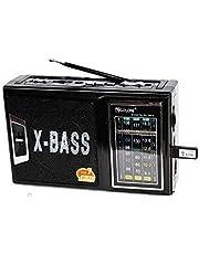 مشغل راديو ار اكس-166 محمول قابل للشحن من جولون مع دعم USB/ تي اف ومصباح ليد يدوي للطوارئ - اللون اسود - 2725514242736