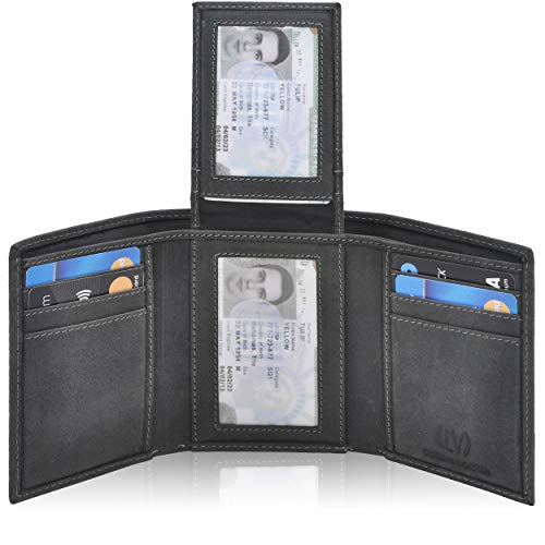 (Genuine Leather Mens RFID Blocking Slim Trifold Wallet with Middle Flap 9 Cards+ 2 ID Window + 2 Note Compartments. (Black Oily)