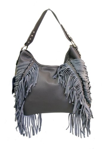 Montana West Ladies Hobo Handbag Suede Fringe Silver Studs Gray, Bags Central
