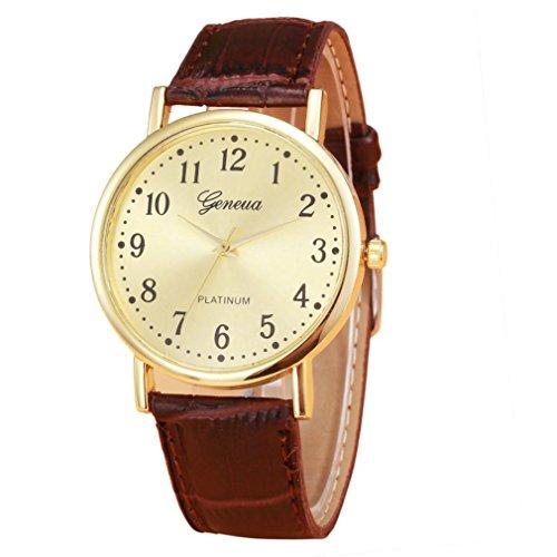 Creazy Woman Mens Retro Design Leather Band Analog Alloy Quartz Wrist Watch - Swimwear Alloy