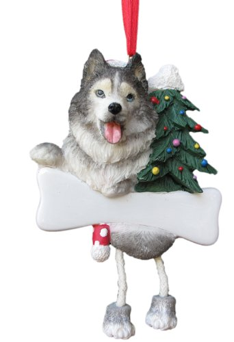 Siberian Husky Ornament with Unique ''Dangling Legs'' Hand Painted and Easily Personalized Christmas Ornament by E&S Pets