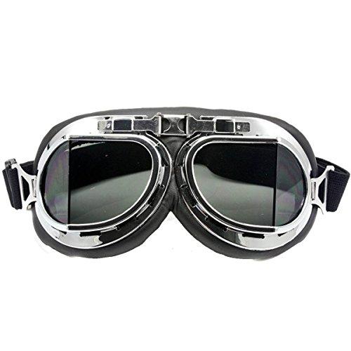 Nsstar Raf Pilot Flying Motorcycle Scooter Biker Motocross Cruisers Sun UV Wind Eye Protect Helmet Goggles Chrome Frame,Smoke (Best Nsstar Motorcycle Helmets)