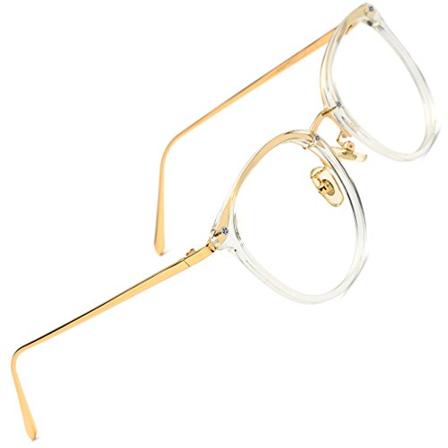 TIJN Round Vintage Optical Eyewear Non-prescription Eyeglasses Frame with Clear Lenses for - Vintage Gold Glasses