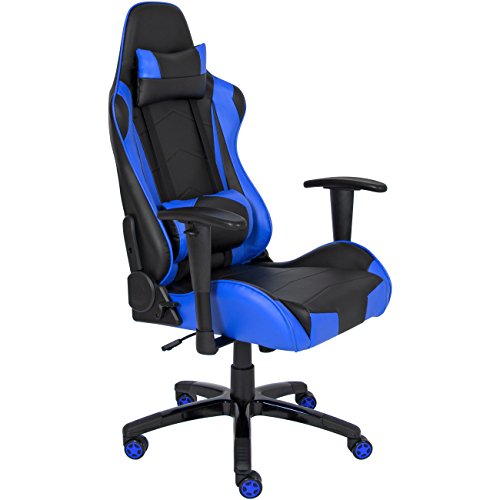 Best Choice Products Racing Leather Gaming Office Chair, Backrest And Height Adjustable- Blue
