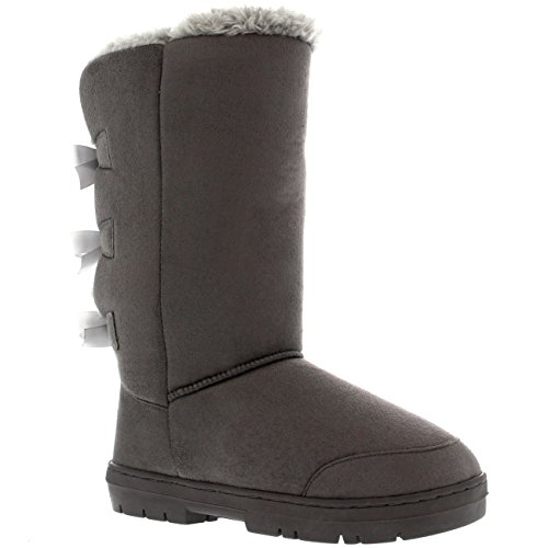 Waterproof Tall Snow Womens Triplet Holly Boots Classic Bow Winter Rain Grey qtAXnwB