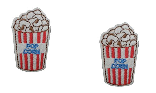 2 small pieces POPCORN Iron On Patch Fabric Retro Applique Food Motif Children Decal 1.8 x 1.1 inches (4.5 x 2.8 cm)