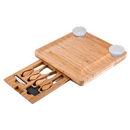 CTFT Cheese Board and Knife Set Bamboo Charcuterie Platter & Serving Tray for Cheese,Wine, Crackers, Brie and Meat (Sets Board Cheese)