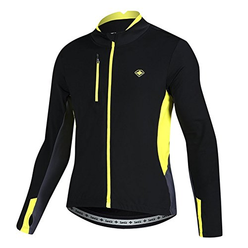 (Santic Bike Winter Jacket Windproof Fleece Thermal Warm UP Cycling Bicycle Jerseys Long Sleeves Yellow US XL(CN)