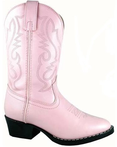 Smoky Mountain Boots Youth Girls Denver Pink Leather Western 7 D (Leather Youth Footwear Pink)