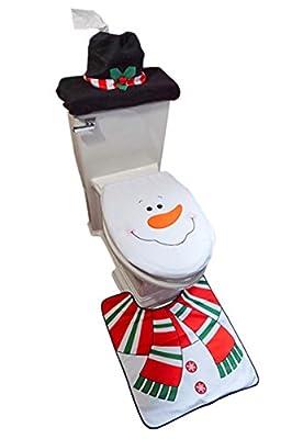 D-FantiX Snowman Santa Toilet Seat Cover Set (3 Piece)
