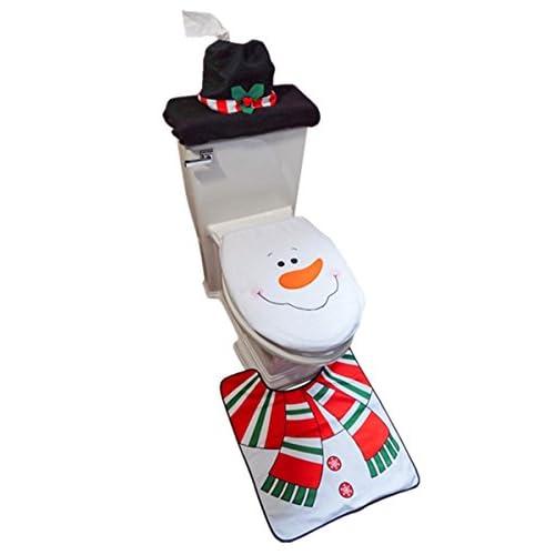D-FantiX 3-Piece Snowman Santa Toilet Seat Cover and Rug Set Red Christmas Decorations Bathroom 413mEsDDO8L  Home Page 413mEsDDO8L