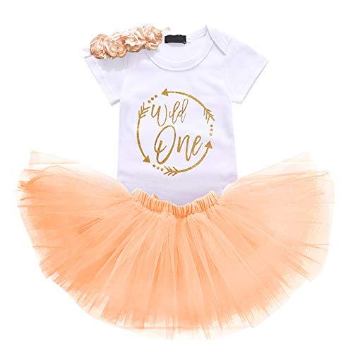 Baby Girls 1st Birthday Cake Smash 3pcs Outfits Set Cotton Romper Bodysuit+Tutu Dress+Flower Headband Princess Skirt Clothes Beige Arrow Wild one Outfits One Size ()