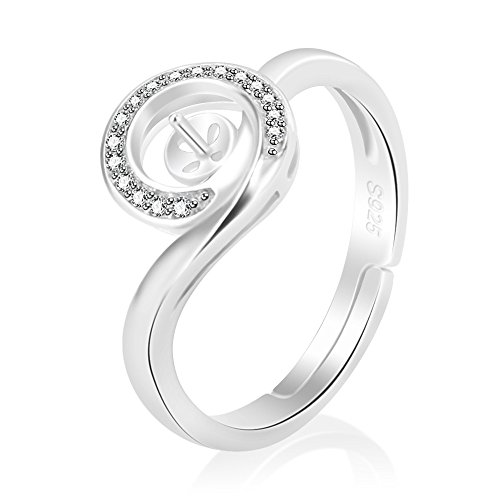 LGSY 925 Sterling Silver Round Shape Adjustable Ring CZ Semi Mount Ring DIY Pearl