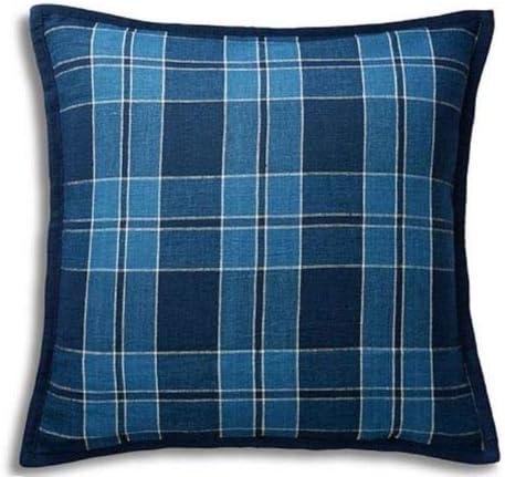 Amazon.com: Ralph Lauren Evan Plaid Linen Throw Toss Pillow   Blue