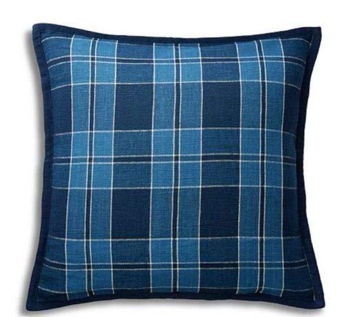 Ralph Lauren Evan Plaid Linen Throw Toss Pillow - Blue Plaid 18 x 18 ()