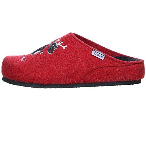 TOFEE Damen Hausschuhe Pantoffeln Naturwollfilz (Elch) rot Rot