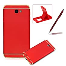 3 in 1 Plating Case for Samsung Galaxy J7 Prime,Full Body Hard Back Cover for Samsung Galaxy J7 Prime,Herzzer Luxury [Electroplating Technology] PC Texture Back All-Round Protection Case For Samsung Galaxy J7 Prime,Red