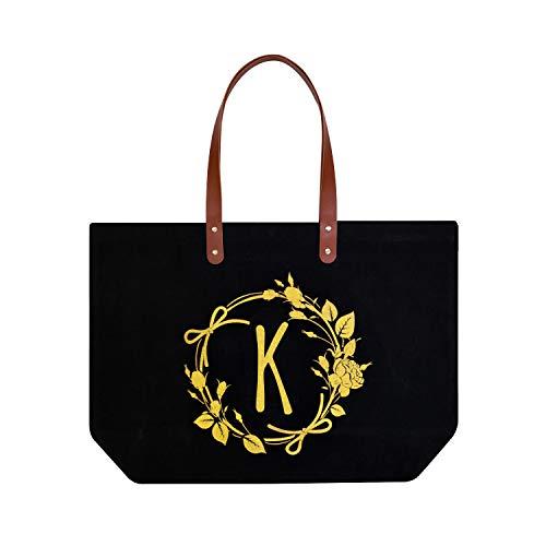 ElegantPark K Initial Monogram Personalized Party Gift Tote Black Large Shoulder Bag with Interior Zip Pocket - Tote Jumbo Canvas Bag