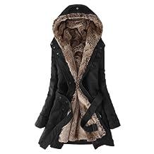 Hee Grand Women Thicken Fleece Faux Fur Warm Winter Coat