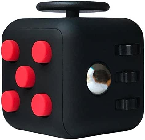 LEDeng Fidget Toys Cube Relieves Stress and Anxiety Attention Toy for Work, Class, Home (Black Red)